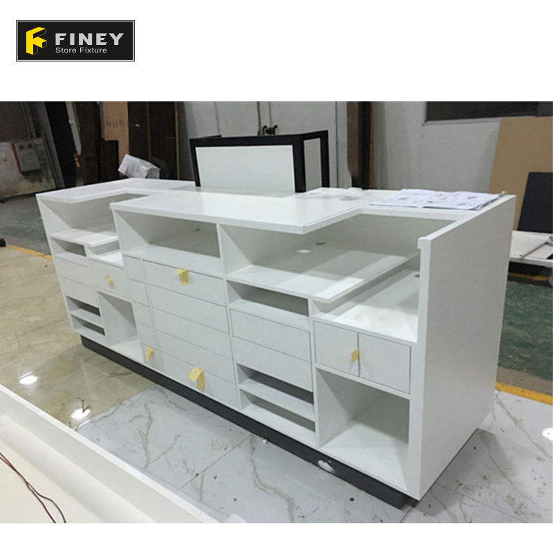 Wooden White Reception Desk Design Front Furniture Cash Counter Table For