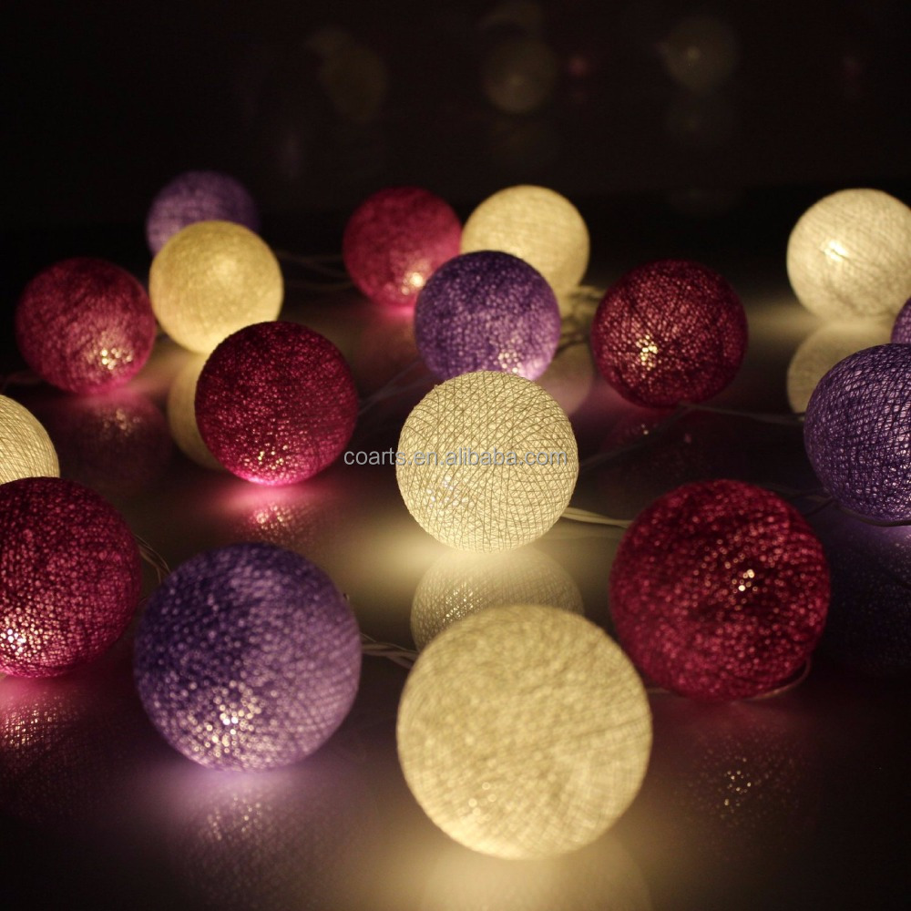 Purple Tone Globe Led Cotton Ball String Light For Christmas ...
