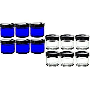 Cobalt and Clear Glass Straight Sided Jar Set of 12 : Includes 6 -2 oz Cobalt Blue Glass Jars and 6 -2 oz Clear Glass Jars + Spatulas and Labels for Essential Oils, Travel and Home