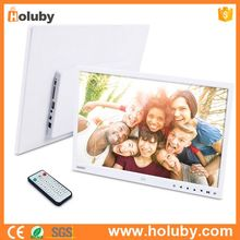 15 Inch HD 1280 x 800 Ultrathin White Digital Photo Frame Photo Files Video Files Player Touch Button Remote Control