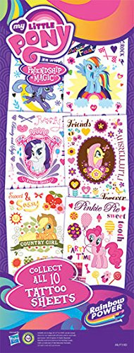 """My Little Pony Temporary Tattoos, 10 sheets 2.5"""" by 3.5"""", Complete set includes Pinkie Pie, Rainbow Dash, Applejack, Fluttershy, Rarity, Twilight Sparkle, Luna and Princess Celestia"""