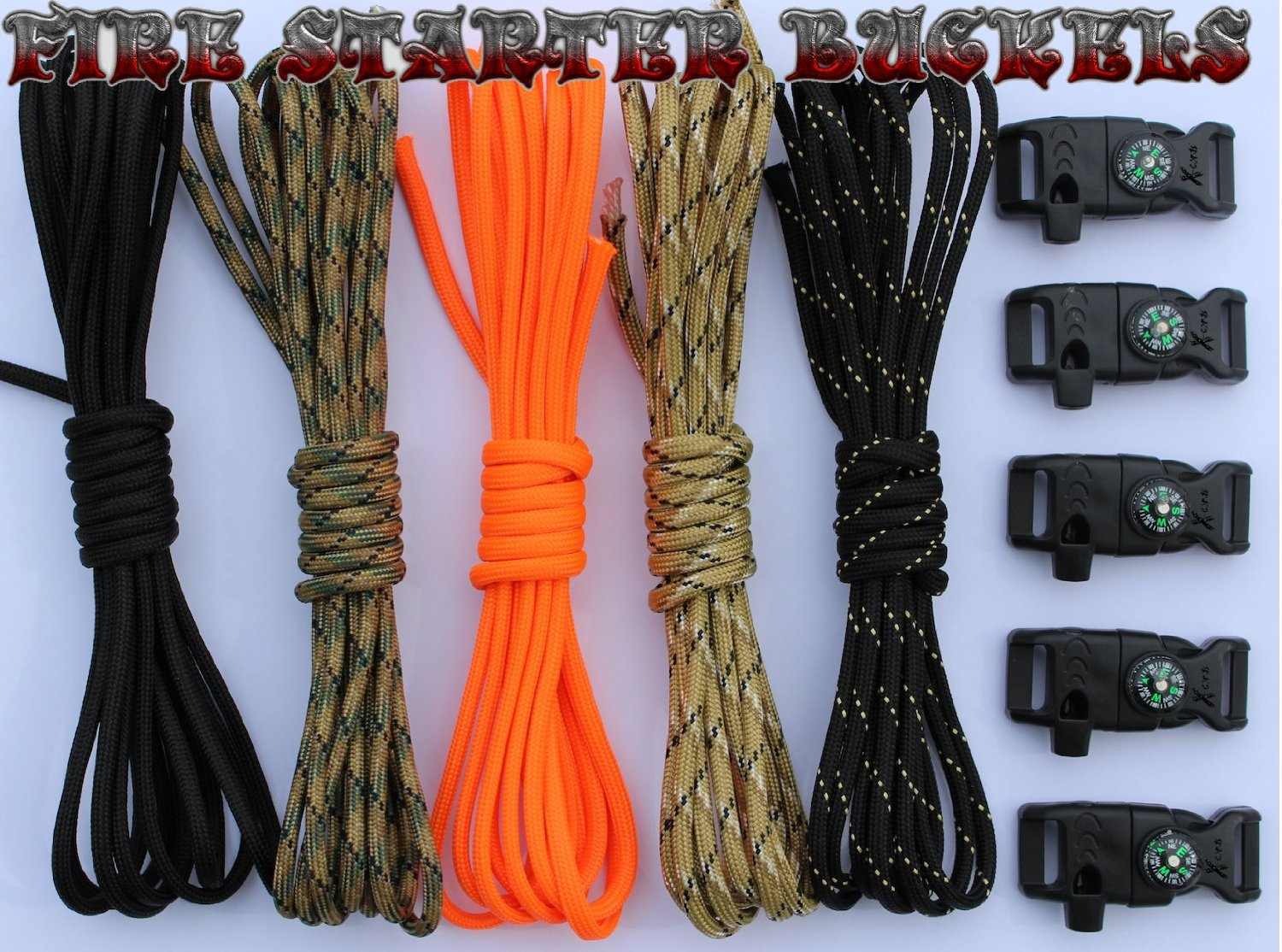 X-cords Paracord Bracelet Kit with Fire Starter Buckle-compass-buckles-whistle Buckles and Instructions A Prepper Must Have