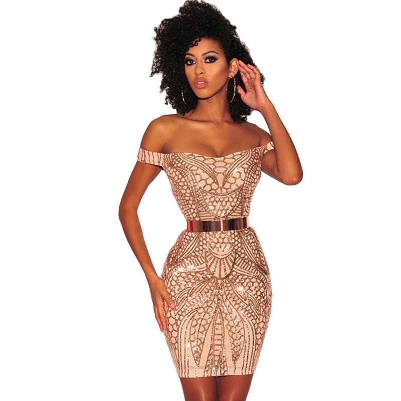 1f67d5a926 Barato al por mayor de Bodycon vestido de las mujeres de lentejuelas oro  desnudo hombro vestidos