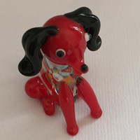 Hand Blown Glass dog Animal Figurine Miniature Collectibles