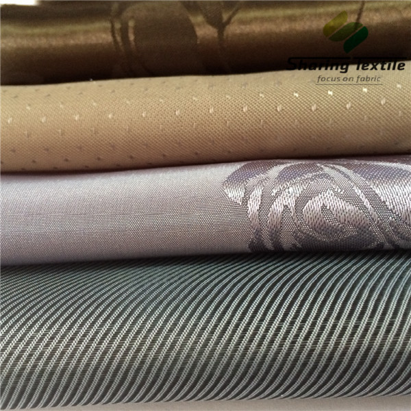Factory Poly 75D 100D Dobby Jacquard Be Ready Made 100 Different Patterns Garment Cationic Two Tones  Inner Lining Fabric