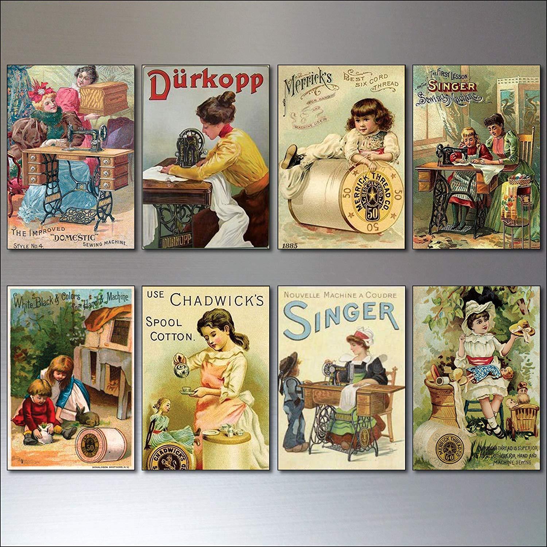 Vintage Victorian sewing Advertisements Fridge Magnets - Retro, Set of 8