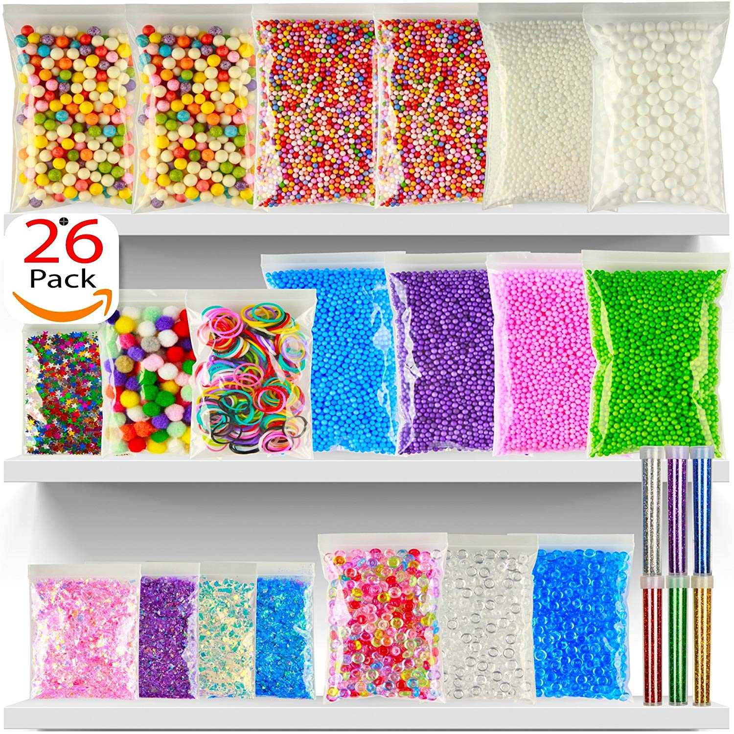 Foam Beads For Slime - 26Pack Slime Beads - Rainbow Floam Beads For Slime - Colorful Styrofoam Beads Kit - Foam Balls Set - Fishbowl Beads - Supplies For Slime Making Art DIY Craft For Kids Girls Boys