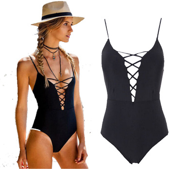 8ae17a32898 Wholesale One Piece Solid Decolletage and Black String Bikini 2017 Sexy new  sexy woman dresses photo