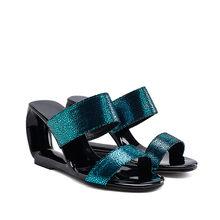 Meotina/летние женские шлепанцы, роскошные праздничные туфли на высоком каблуке с резным узором, соблазнительные шлепанцы с открытым носком, ж...(Китай)