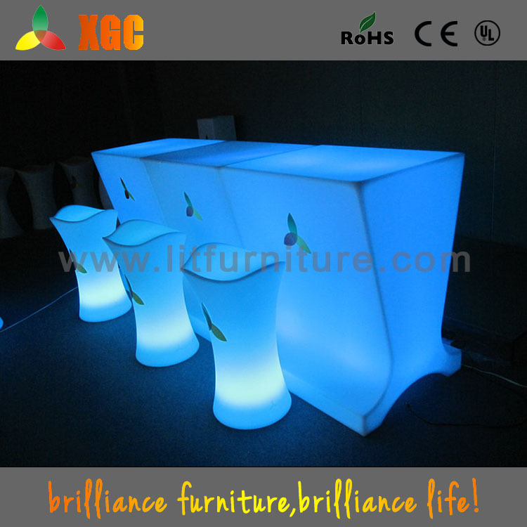 LED FURNITURE bar chair with footrest/led furniture bar/round bar chair for event party bar club