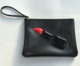 Black Flat Lipstick Makeup Bag Small Leather Pouches