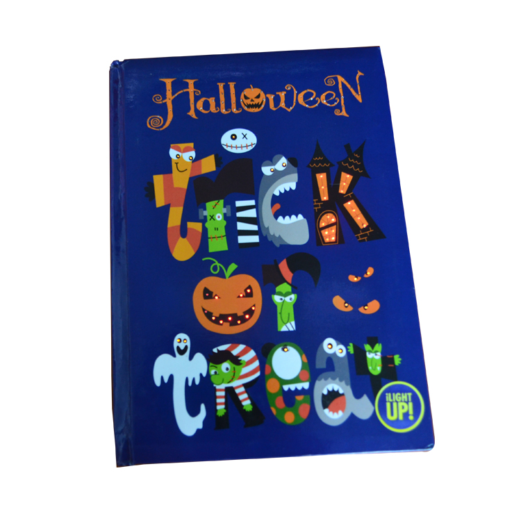 2017 Hot Selling Custom LED Lighting Up Diary/Notebook With Fiber Optic for Halloween