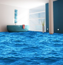 New Arrival 3D Sea Wave Self Adhesive PVC Decoration Floor Sticker