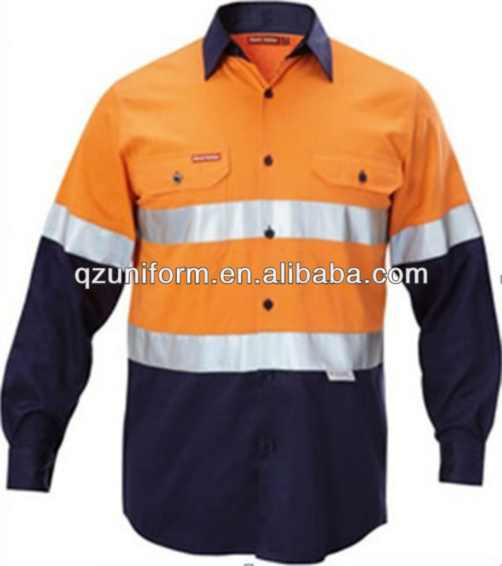 mens <strong>orange</strong> two tone button-front hi vis safety work shirt for construction labor