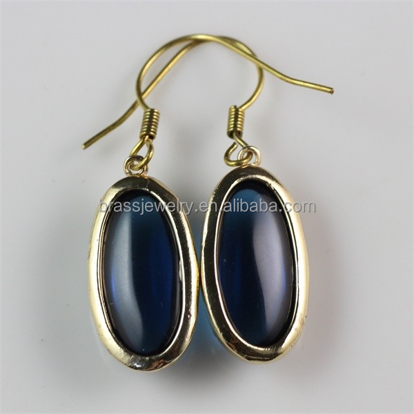 2015 New Design Hot Fashionable Raw Brass Cheap Indian Chalcedony Drop Earrings