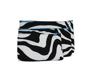 Zebra Print 3 pc Set Zipper Cosmetic Bags Case Makeup Pouch