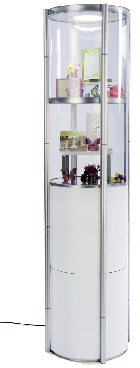 Displays2Go Round Twist Showcase for Trade Shows, Collapsible, Clear & White Panels, Top Lights - Silver and White (SLVTWST2ML)