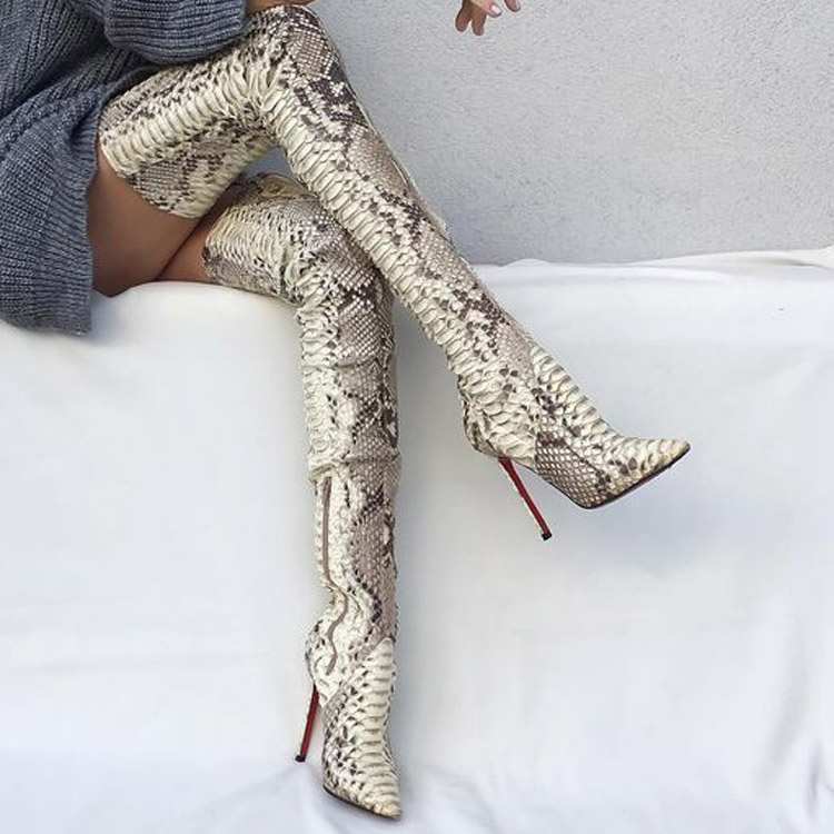 Womens Snakeskin Thigh High <strong>Boots</strong> Over The Knee High Heels Factory Drop Ship Club <strong>Boots</strong>