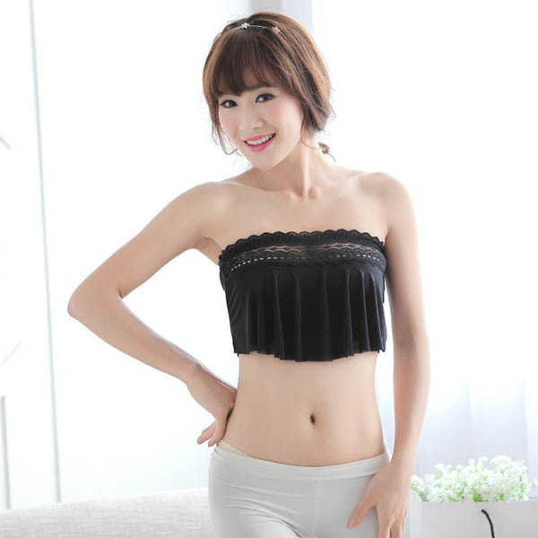 d24f14fd213 Women Lace Chest Wrap Stretch Boob Tube Top Bandeau Strapless Strap Padded  Bra