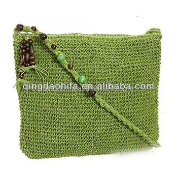 Stilvolle Perlen Handarbeit Papier Stroh Häkeln Tasche Für Frauen