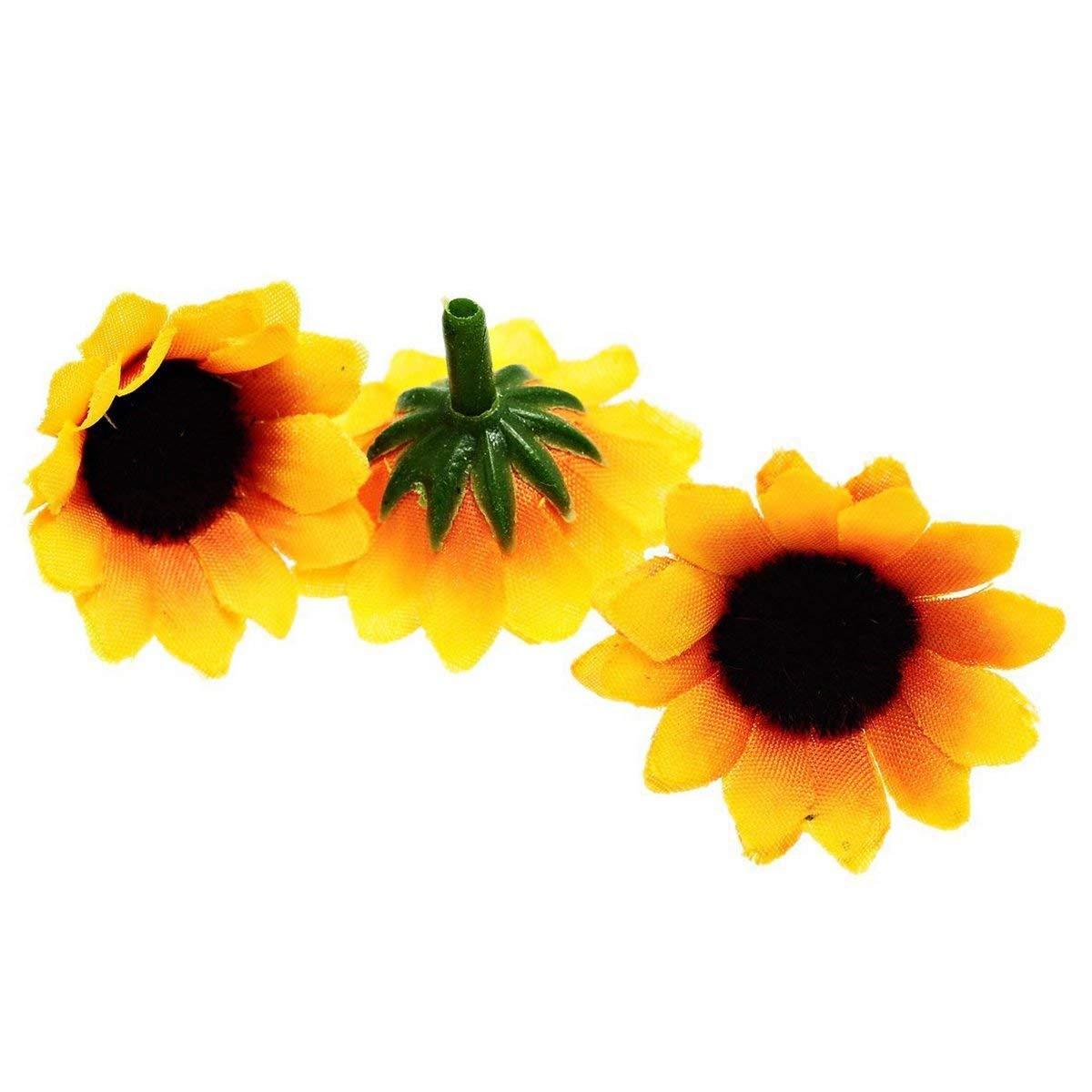 SODIAL(R) 100 Pcs Artificial Sunflower Little Daisy Gerbera Flower Heads for Wedding Party Decor (Yellow&Coffee)