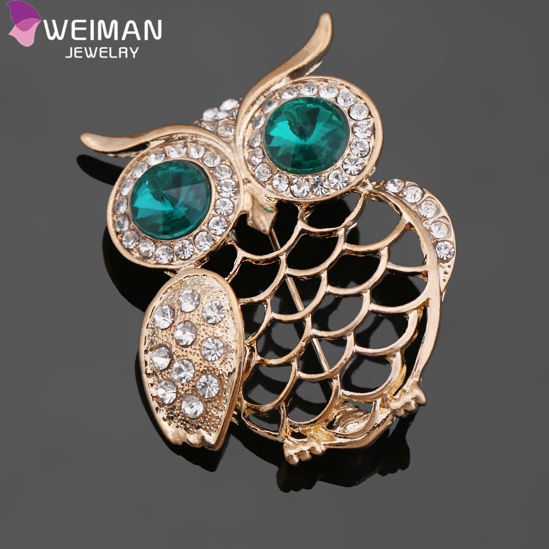 Hot Sale Animal Pin Brooches Crystal Rhinestone Owl Brooch for Lady
