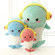 free sample plush dolphin with headset 20cm cute stuffed dolphin toys for children wholesale soft dolphin toys