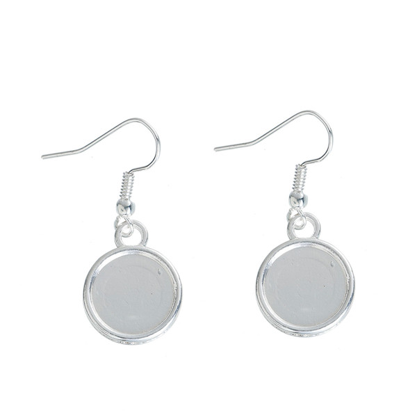 Zinc Based Alloy Earrings Findings Round Silver Plated Cabochon Settings 34mm x 15mm