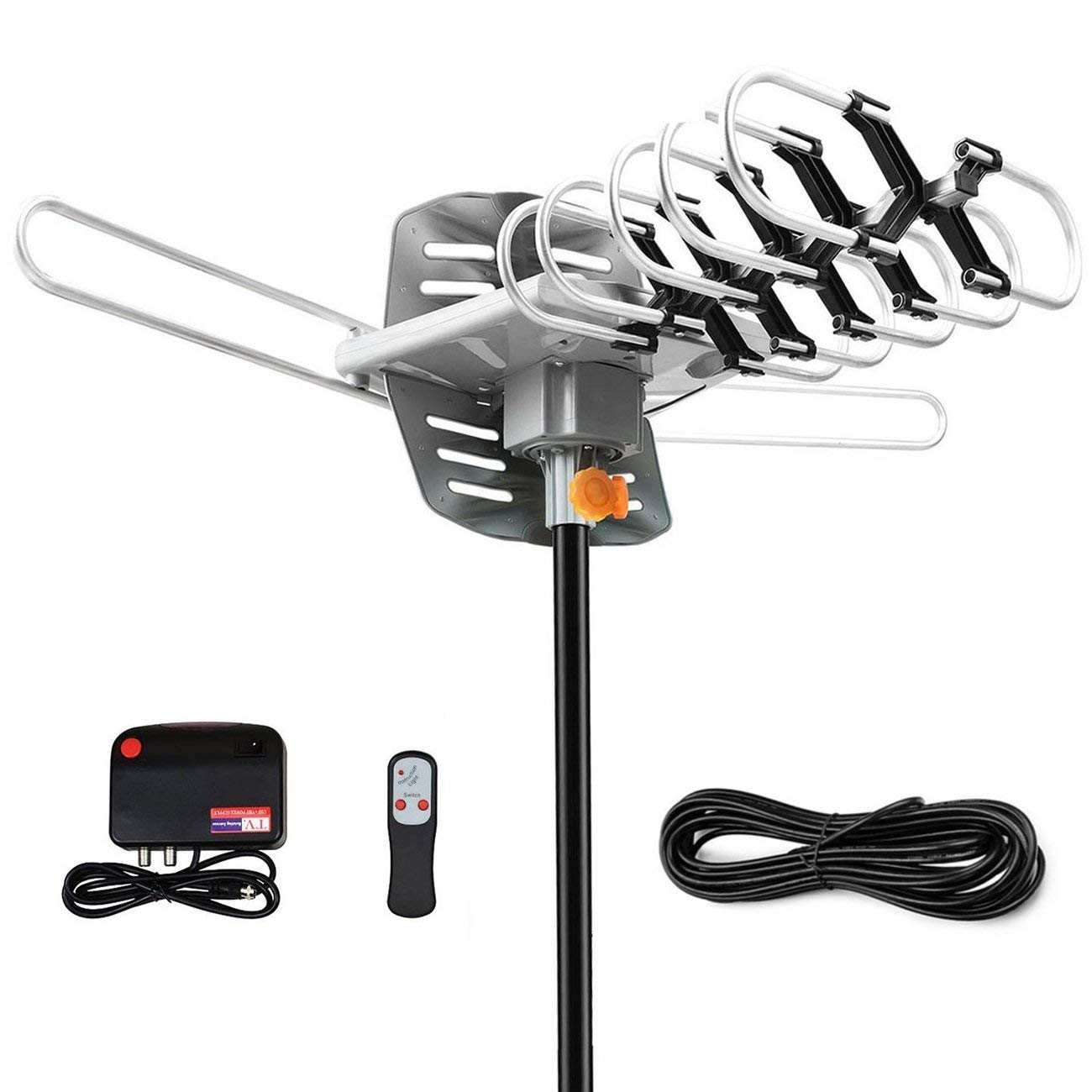TV Antenna -Outdoor Amplified HDTV Antenna 150 Mile Range Motorized 360 Degree Rotation,Pacoso Digital TV Antenna for 2 TVs Support - UHF/VHF/FM Signal Wireless Remote Control - 33FT Coax Cable