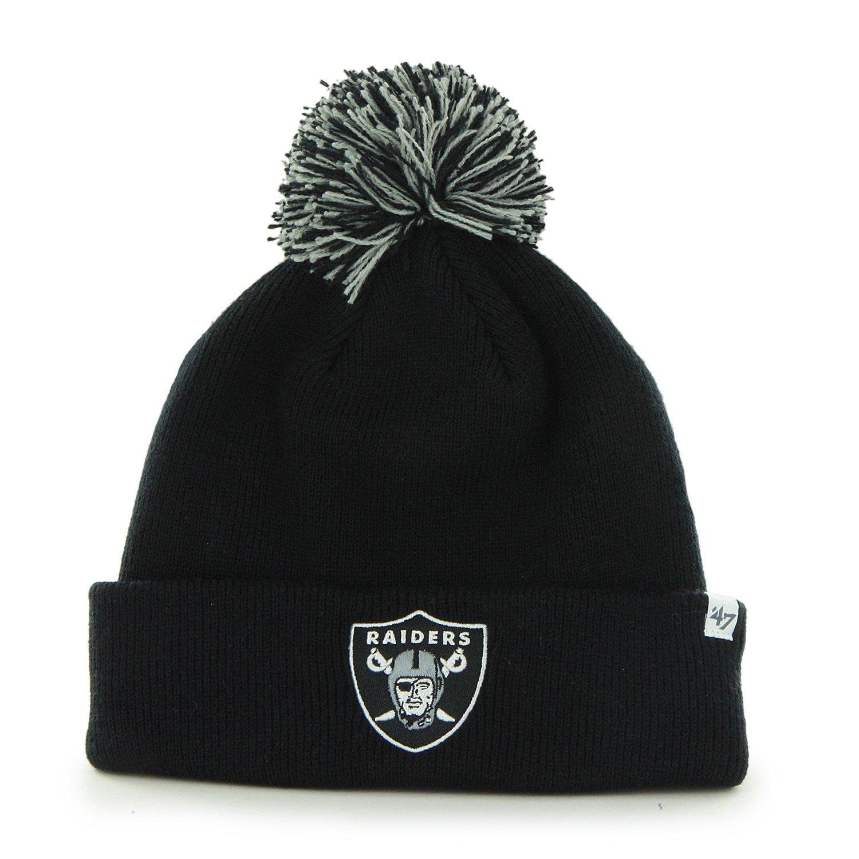 0e0261e8c00 Get Quotations · Oakland Raiders Black Pom Pom 2-Sided Beanie Hat - NFL LA  Cuffed Winter Knit