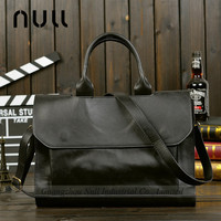crazy horse leather custom fashion business men tote PU bag