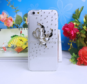 Butterfly Design 3D Diamond Rhinestone Hard PC Case for iphone 6 6 plus Plastic Cover Shell