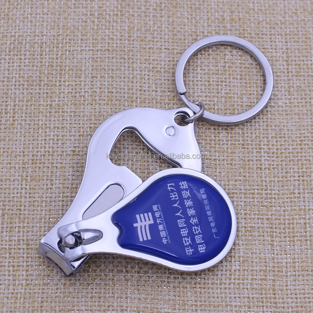 promotional custom epoxy printing metal nail clipper with bottle opener keychain buy nail. Black Bedroom Furniture Sets. Home Design Ideas