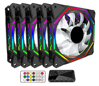 Alseye EL-120 5KITS 120mm PC Fan Cooler with RF Remote Control Fan