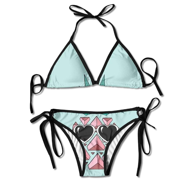 FDJKHY Personalized Women Bikini-Cute Pineapple With Sunglasses Swimsuit Beachwear