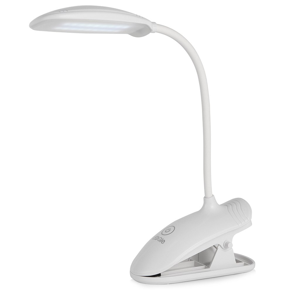 LEDGLE 8W LED Desk Lamp Flexible Gooseneck Table Lamp 3 Brightness Levels,Touch Control,USB Portable Rechargeable Dimmable Portable Lightweight Table Reading Study Clip Lamp