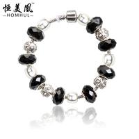 HOMHUL 2017 lucky spiritual charm bracelet silver plated bracelet bead bracelet