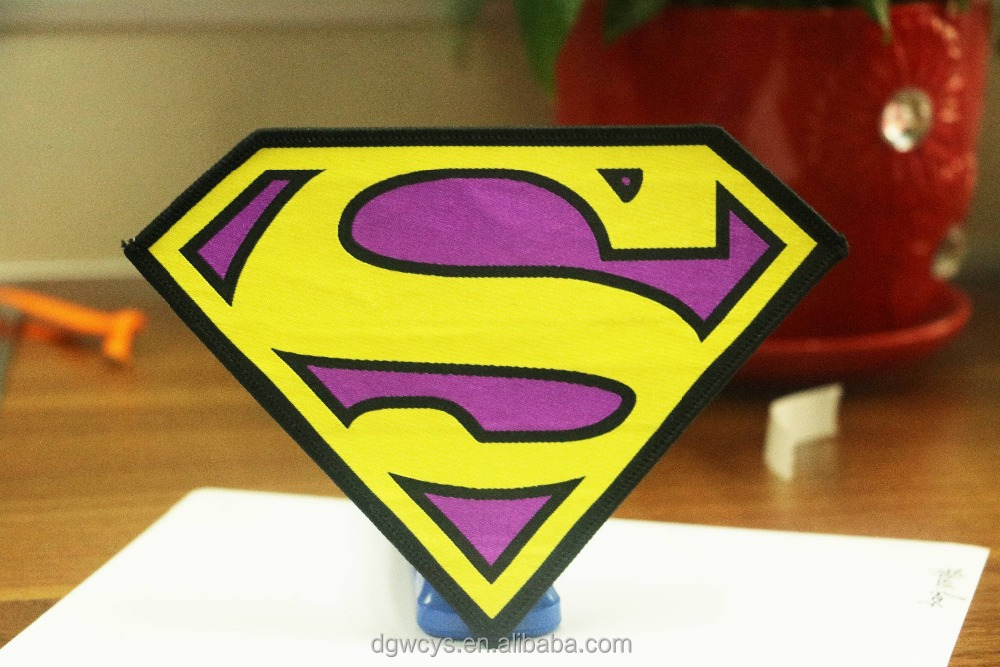 Custom superman emboridered woven patches for individuality jacket