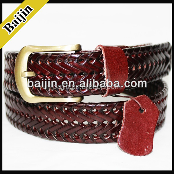 men's fashion regenerated leather leather weave <strong>belts</strong>