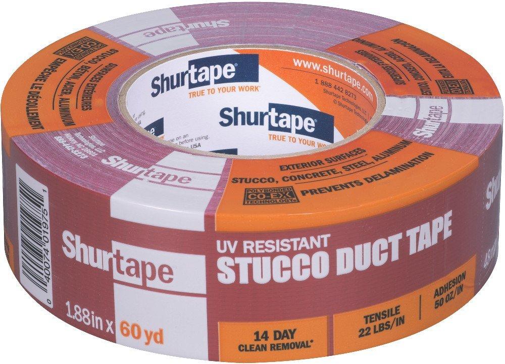 2 Rolls Shurtape PE-444 UV-resistant Stucco Masking Film Tape Red,48mm x 55m