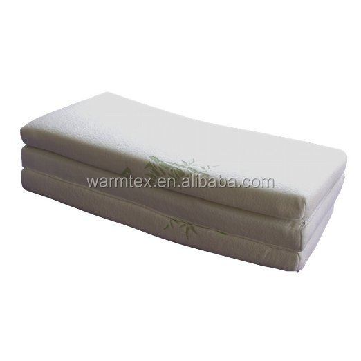 Folding Mattress Super Soft Hypoallergenic Bamboo Cover with Waterproof Liner.