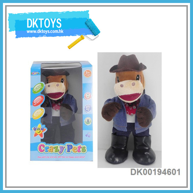 Hot Sale New Item B/O Music Dancing Cowboys Brown Horse Color Box Plush Kids Toys