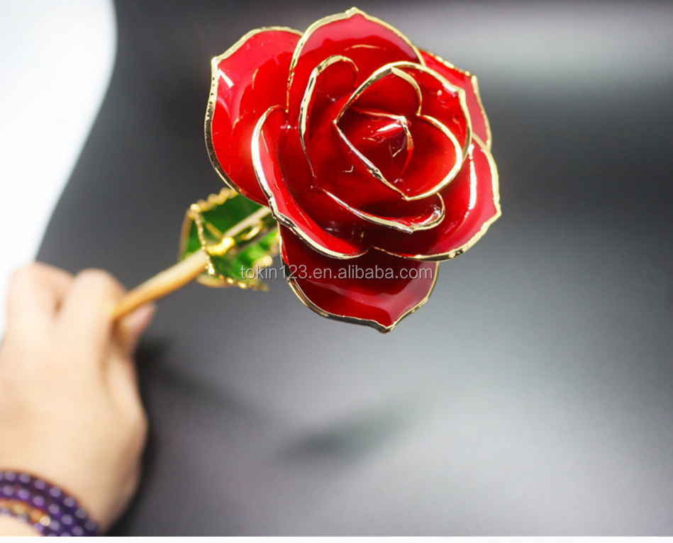 24k gold dipped real rose Best VALENTINE'S DAY gift 24K GOLDEN ROSE flower forever love