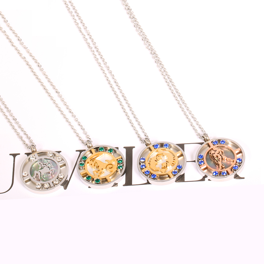 Excellent Quality Stainless Steel Women Necklace Zodiac Pendant