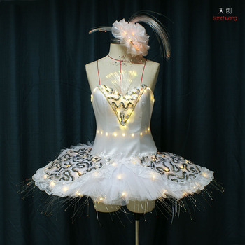 LED Ballerinas Light Up Black Swan Lake TuTu Ballet Dress