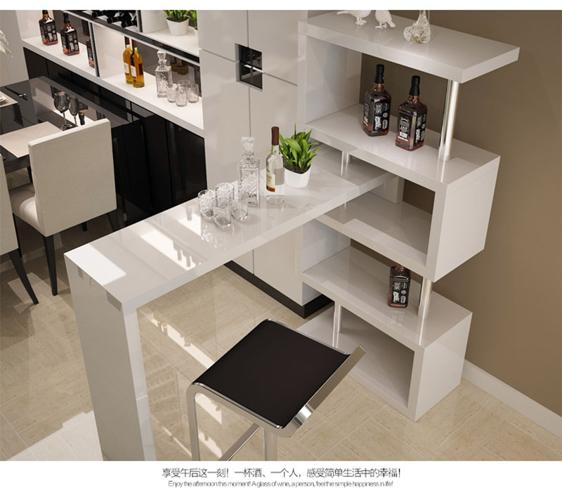 <strong>Bar</strong> furniture MDF <strong>bar</strong> table white modern corner space saving