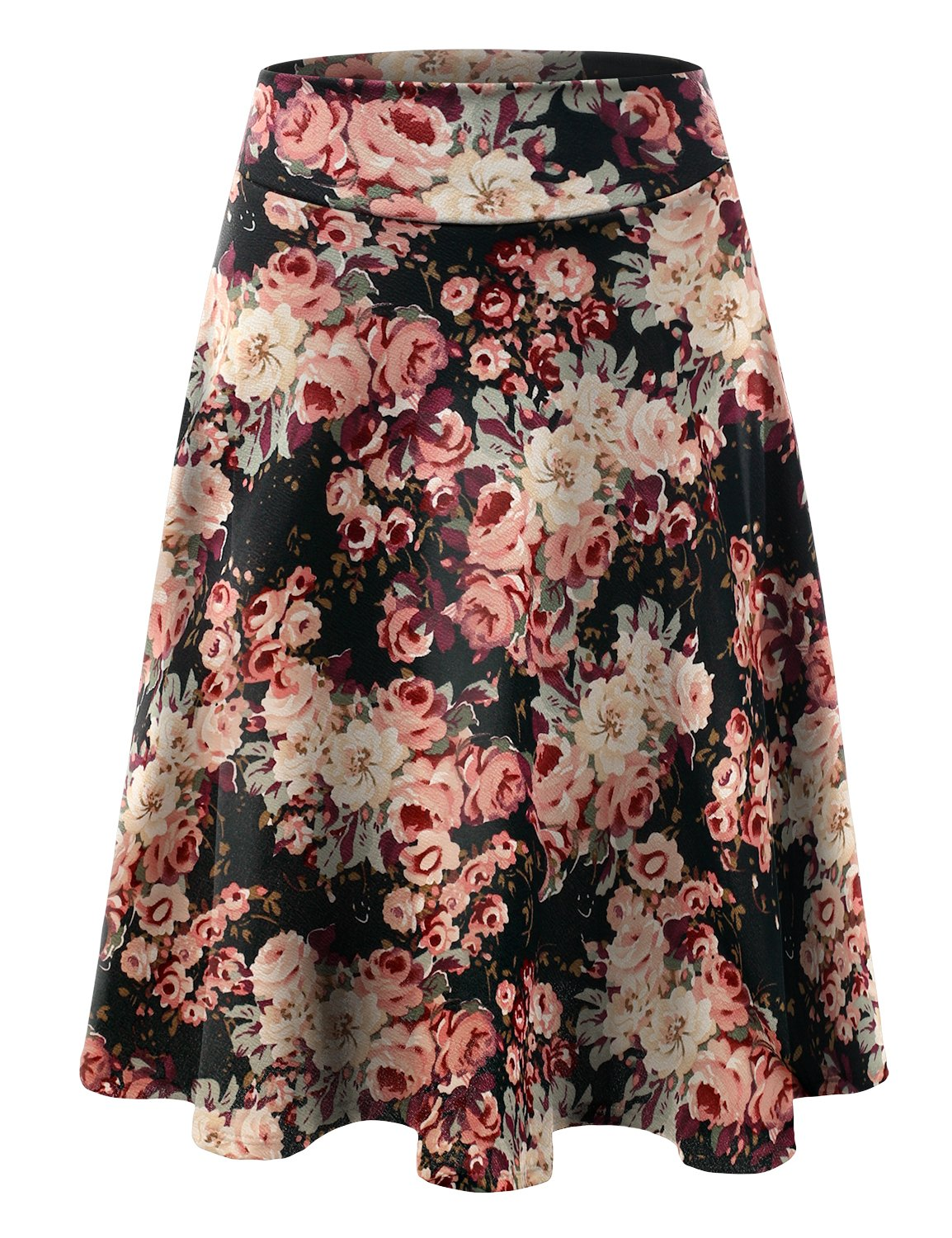 832819c57b Get Quotations · Doublju Elastic High Waist A-Line Flared Midi Skirt for  Women with Plus Size (