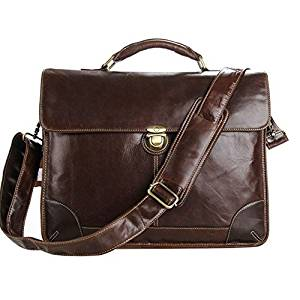 Leather Briefcase or Messenger Bag (For Laptops, Macbook, Chromebook, Ms Surface, Ipad, Android and Accessories)