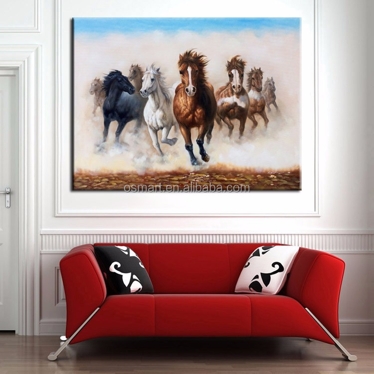 Skilled Artist Handmade High Quality 8 Horses Oil Painting On Canvas Abstract Eight Horse Oil Paiting For Wall Decorations