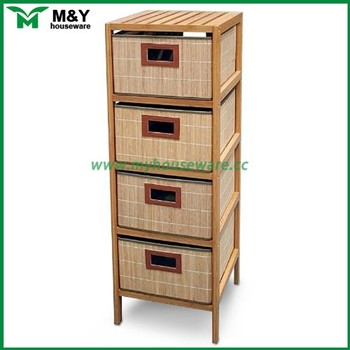bamboo storage shelf with 4 drawers in bed room bathroom